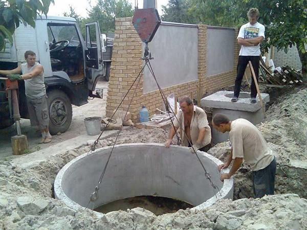 как построить септик из бетонных колец своими руками фото