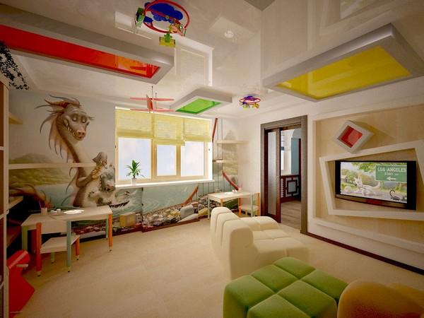 потолок в детской комнате фото
