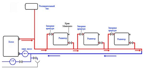 схема отопления ленинградка в частном доме фото