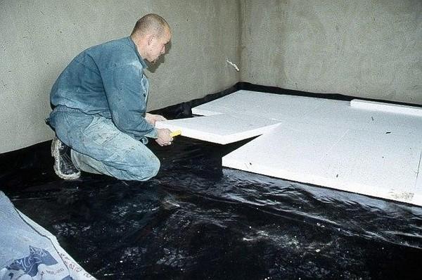 утепление бетонного пола пенополистиролом  фото