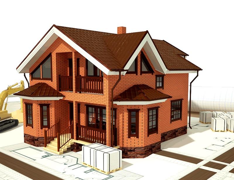 дом из красного кирпича фото