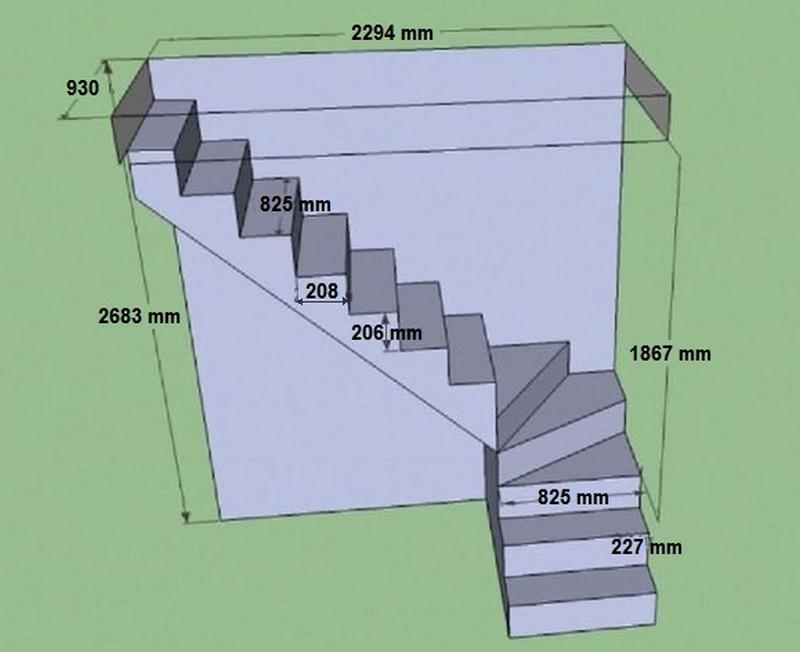 расчет лестницы с забежными ступенями фото