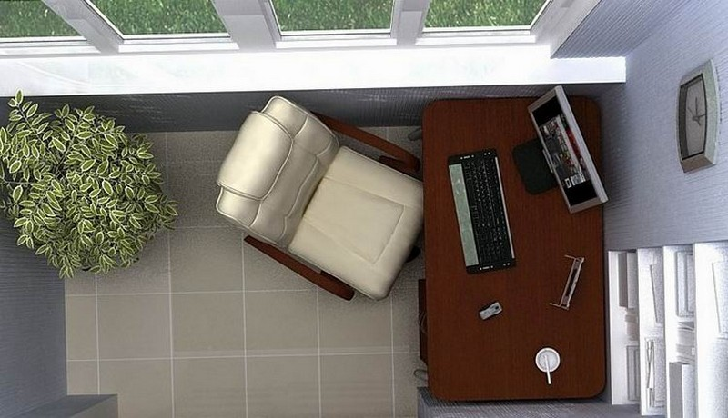 Кабинет на балконе дизайн фото